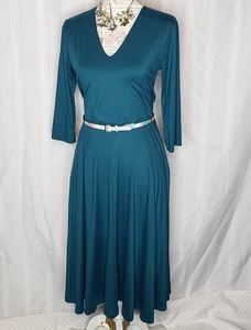 Essential Midi Dress Teal With Pockets By A&D